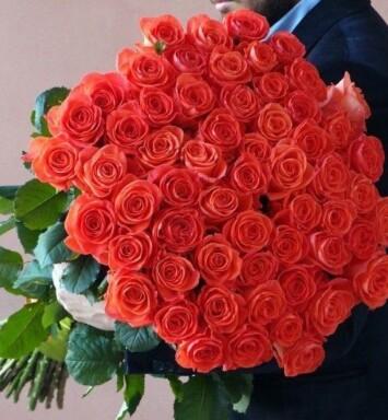101 оранжевая роза (60 см)