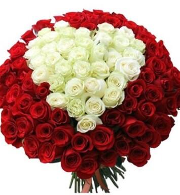 101 роза Сердце  60 см